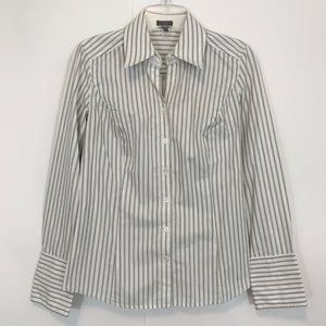Ann Taylor Button Striped Top